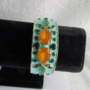 J CREW Rhinestone Enamel Gold Tone Bangle Bracelet
